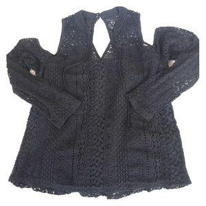 Hollister Black Lace Open Shoulder Top